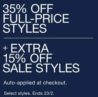 35% Off All Full-Price Items + Extra 15% Off Sale Items + Free C C ... f4d69308006be