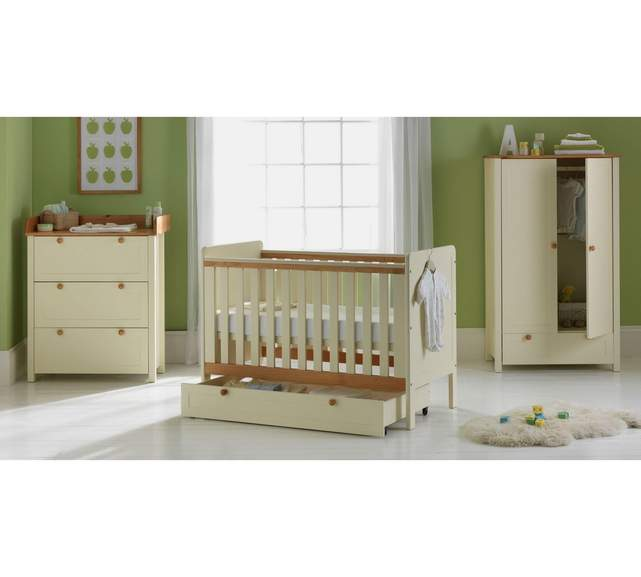 Classic two tone 5 piece nursery furniture set inc cot Nursery chest of drawers with changer