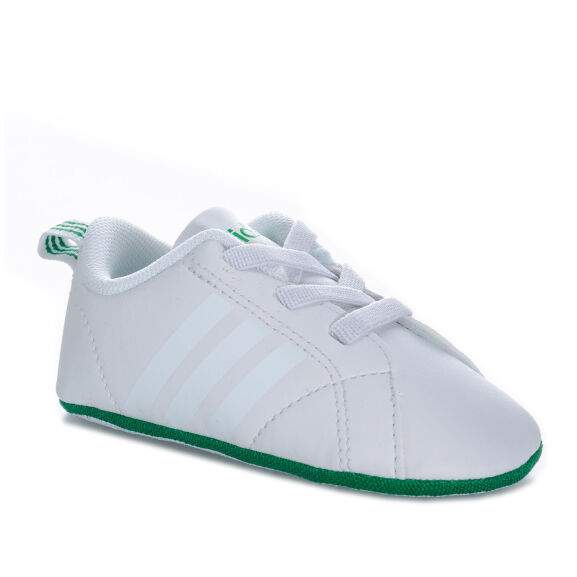 Soft Sole Elasticated Laces Baby adidas Vs Advantage Crib Shoes In White Pink