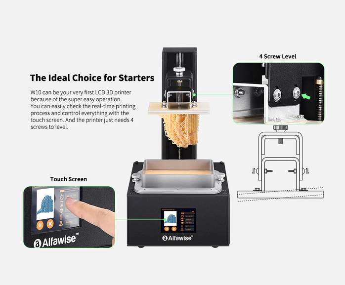 Alfawise W10 LCD SLA Resin 3D Printer Kit with Extras in