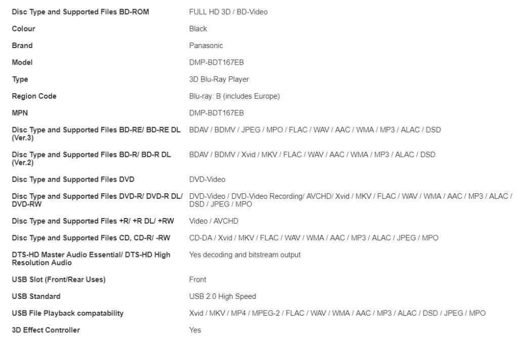 Refurb (12 month warranty) Panasonic SMART 3D Blu-ray DVD Player