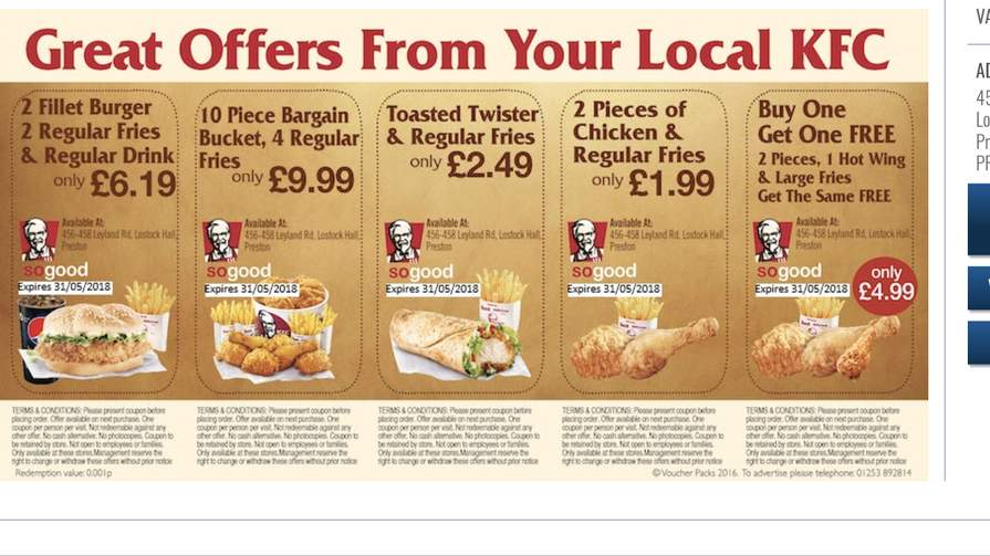 graphic regarding Kfc Coupons Printable identified as KFC Printable Vouchers as a result of Voucherpacks - hotukdeals