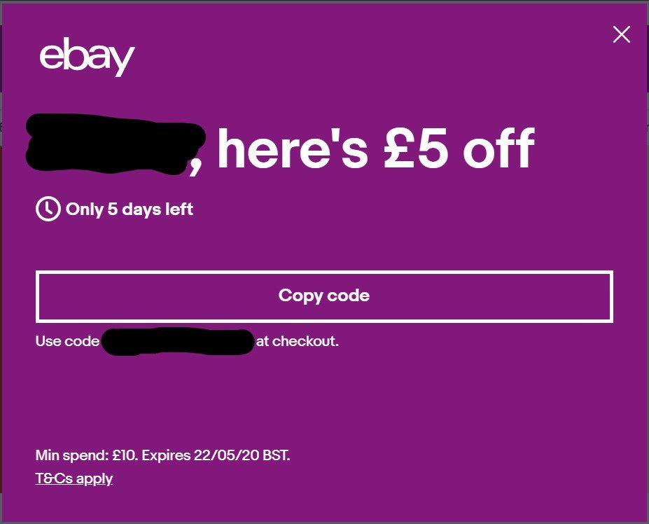 5 Off Minimum 10 Spend Ebay Account Specific Hotukdeals