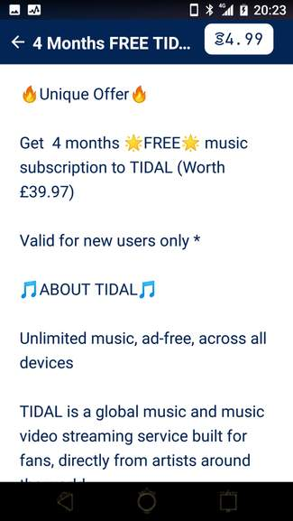 Get 4 months free music subscription to TIDAL @ SweatCoin