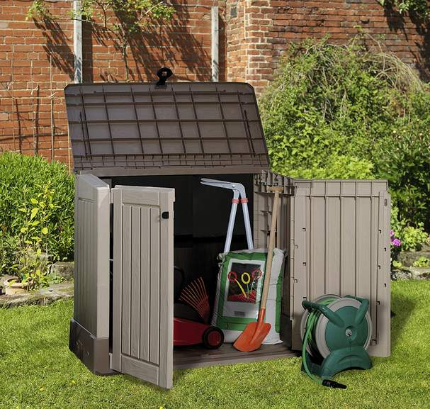 keter store it out midi outdoor plastic garden storage shed 130 x 74 x 110 cm was 83 now 55. Black Bedroom Furniture Sets. Home Design Ideas