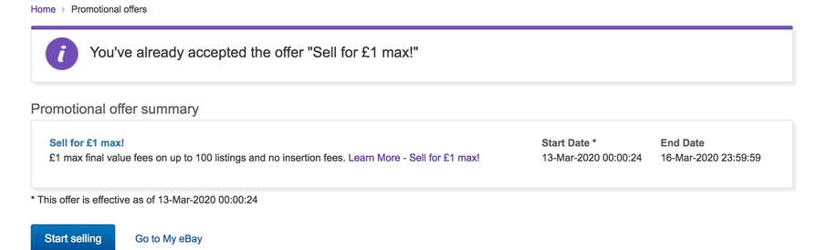 1 Ebay Max Selling Fees On Up To 100 Listings Ebay Hotukdeals