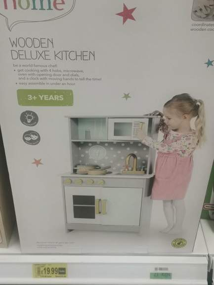 Asda Kids Wooden Deluxe Play Kitchen And Accessories 19 99