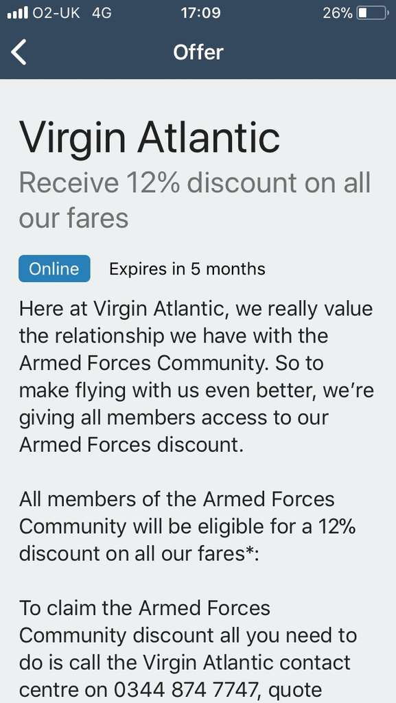 Virgin Atlantic offering 12% discount for serving and ex