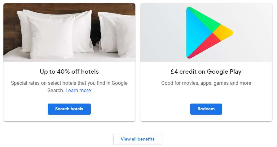 Free/or £1 59 for £4 credit on Google Play @ Google One - hotukdeals