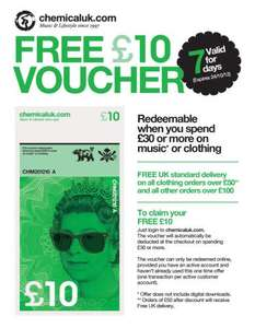 £10 off a £30+ spend @ Chemical Records (applies to music & clothing)