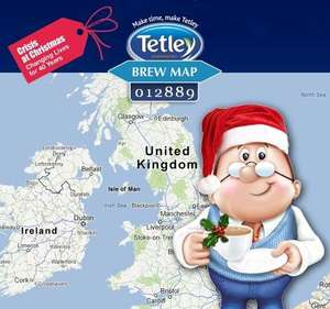 Tetley Brew map - A tea bag for charity ( Crisis at Christmas) for a minute of your time - it is the season for giving after all!