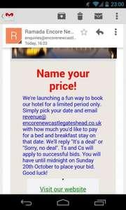 Name your price @ Ramada Gateshead