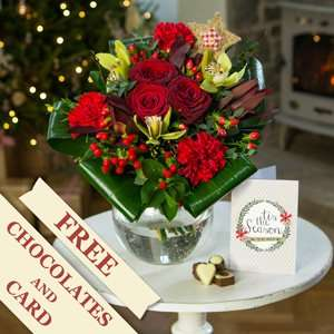 Happy Christmas Flowers, Chocolates & Christmas Card for £17.90 Delivered from iflorist (Xmas Eve Delivery avaliable)