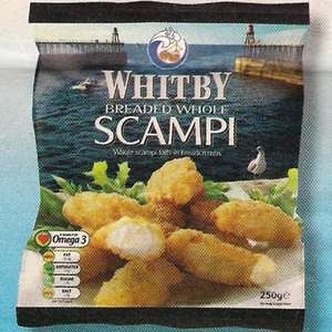Farmfoods Whitby Breaded whole Scampi 250gr. 3 for £5.00