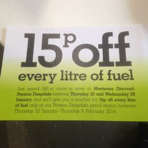 Spend £40 or more in store and get 15p off a litre of fuel @ Morrisons Preston Deepdale