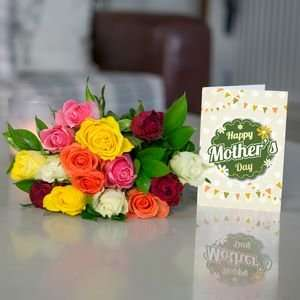 Lovely colourful roses and a personalised card for Mother's Day for less than £15 delivered @ iFlorist