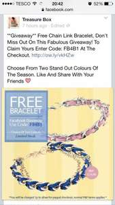 Woven Bracelet for 1p plus P&P of £1.95 (or free if spend £25) @ Treasure Box