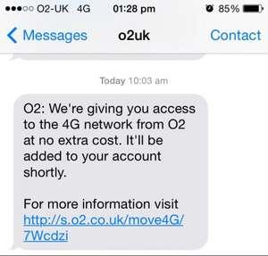 Free 4G on same tariff to existing O2 customers