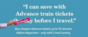 Buy advance train tickets up to 15 minutes before departure at crosscountry.co.uk