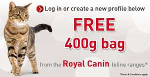 free 400g bag of royal canin cat food via voucher
