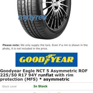 Eagle NCT 5 RoF BMW 225/50 R17 £123.80 each at M Tyres