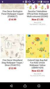 wallpaper from £1 in sale at I Love Wallpaper