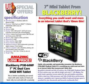 Refurb 64GB Blackberry Playbook for £24.94 delivered @ IJT Direct