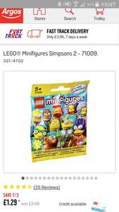 Lego simpsons series 2 Minifigures £1.29 at Argos
