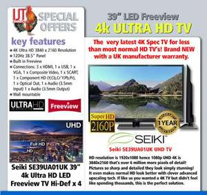 """Seiki 39"""" 4K Ultra HD 2160p LED Freeview TV £249.95 from igtdirect.co.uk"""