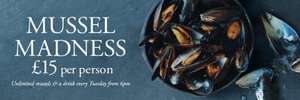 Mussel Madness… unlimited mussels, fries and a drink for £15! Loch Fyne Restaurant