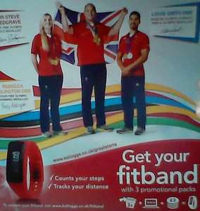 Free Fitband or Fitness band from Kellogg's with codes from cereal boxes. Have to pay £3.00 for postage.