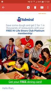 Free Hi-Life Dining membership with Admiral Insurance