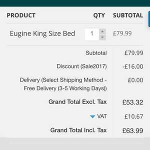 King Size Bed £63.99 delivered with 20% off code (was £139.99) @ G&HDirect