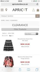 Apricot clothing clearance £15.00 or less (+ £3.99 Del -Free when you spend over £75)