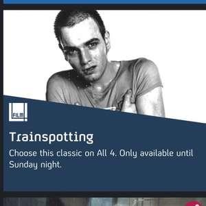 Trainspotting film (danny Boyle).    Channel 4 all4 film4 till Sunday