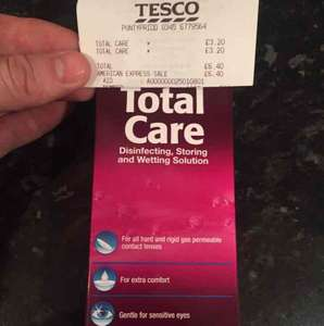 Total care contact lens solution £3.20 120ml instore @ Tesco