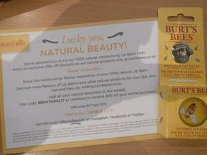 Free BurtsBees Beeswax Lip Balm 8.5g and 25% online store discount code, Camden Town Station
