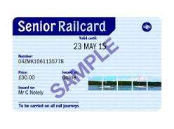 Buy a Senior Railcard online now and you will get £3 off the usual price of £30 - £27