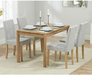 Oxford 120cm Solid Oak Dining Table with 4 Mia Fabric Chairs £299 Oak furniture superstore (delivery £35 under £350) - £334