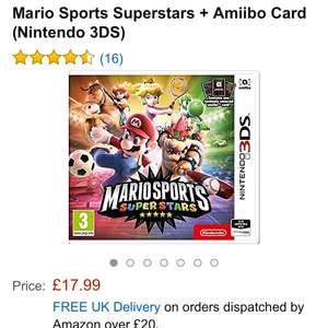 Mario Sports Superstars + Amiibo Card (Nintendo 3DS) £17.99 (Prime) / £19.98 (non Prime)  Sold by cheapgamesUK and Fulfilled by Amazon.