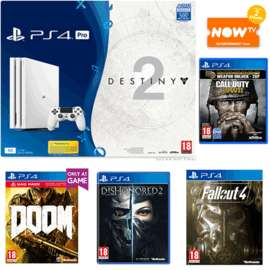 Glacier White PS4 Pro 1TB Destiny 2 Bundle with Doom + Dishonored 2 + Fallout 4 and NOW TV 2 Month Entertainment - £389.99 @ GAME