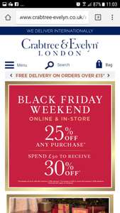 Crabtree and Evelyn...25% off orders up to £49, 30% off orders £50+ PLUS free delivery on £15+ orders THIS WEEKEND ONLY