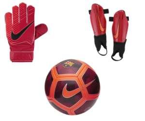 FC Barcelona Skills Football + Nike Junior Match Goalkeeper Kids' Football Gloves + Nike Charge 2.0 Kids' Football Shinguards - £24.68 delivered w/code @ Nike