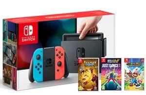 Nintendo Switch Neon + Mario & Rabbids, Just Dance 18 + Rayman Legends £329.86 @ ShopTo