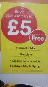 Buy a pancake pan for £5 and get all this free :- free pancake mix; frylight; lemon juice; maple syrup @ Iceland