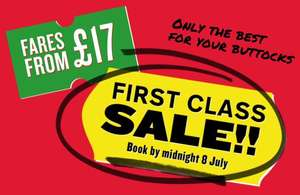 Virgin train seat sale - First Class fares from £17 - Travel between 30 Jul - 31 Aug