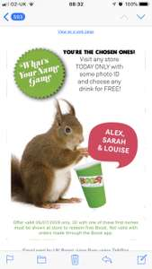 Free Boost Juice drink at any store today if your name is Alex, Sarah or Louise