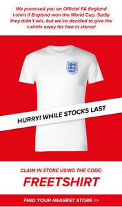 Free FA England men's T-shirt from Sports Direct (Instore)