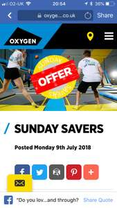 Buy 1 get 1 free after 6pm Sunday's @ Oxygen trampolining Park