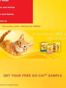 Free sample pack of go cat via Purina